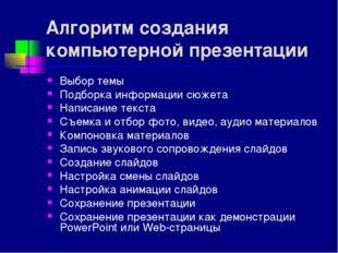 Алгоритм создания компьютерной презентации Выбор темы Подборка информации сюж