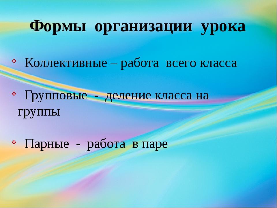 Формы организации урока Коллективные – работа всего класса Групповые - делени...