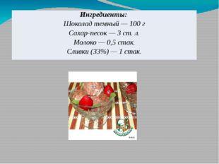 Ингредиенты: Шоколад темный — 100 г Сахар-песок — 3 ст. л. Молоко — 0,5стак.