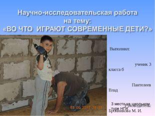 Выполнил: ученик 3 класса б Пантелеев Влад Руководитель: Бронникова М. И. Иж