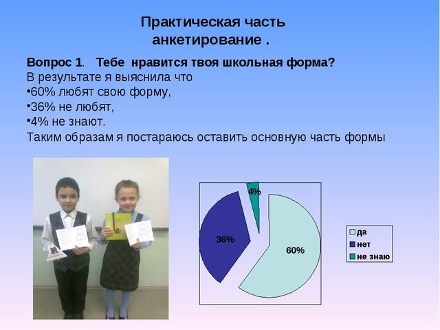 Практическая часть анкетирование . Вопрос 1. Тебе нравится твоя школьная форм...