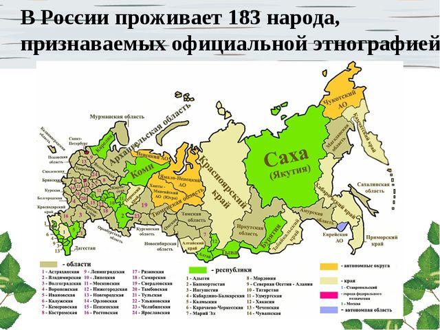 В России проживает 183 народа, признаваемых официальной этнографией