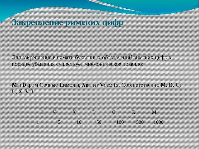 Закрепление римских цифр Для закрепления в памяти буквенных обозначений римск...
