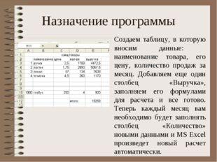 Назначение программы Создаем таблицу, в которую вносим данные: наименование т