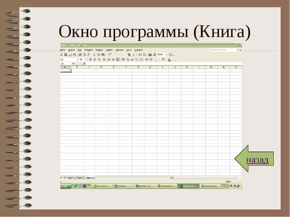 Окно программы (Книга)