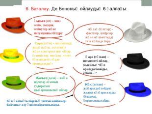 6. Бағалау. Де Бононың ойлаудың 6 қалпағы: Көк қалпақты барлық топтан кейін к