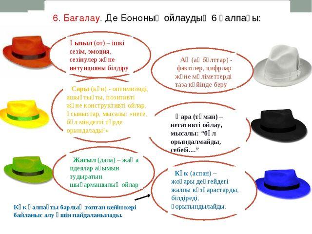 6. Бағалау. Де Бононың ойлаудың 6 қалпағы: Көк қалпақты барлық топтан кейін к...