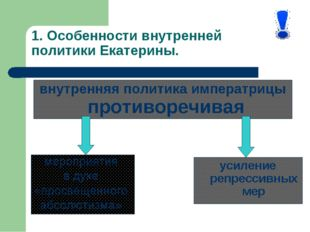 1. Особенности внутренней политики Екатерины. усиление репрессивных мер внутр