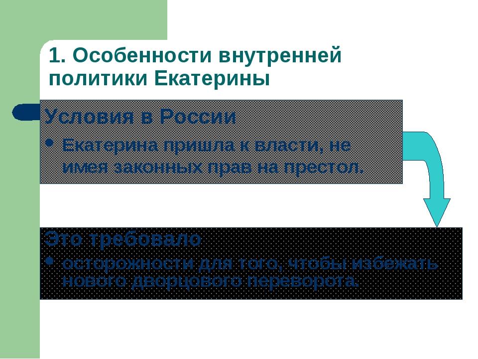 1. Особенности внутренней политики Екатерины Условия в России Екатерина пришл...
