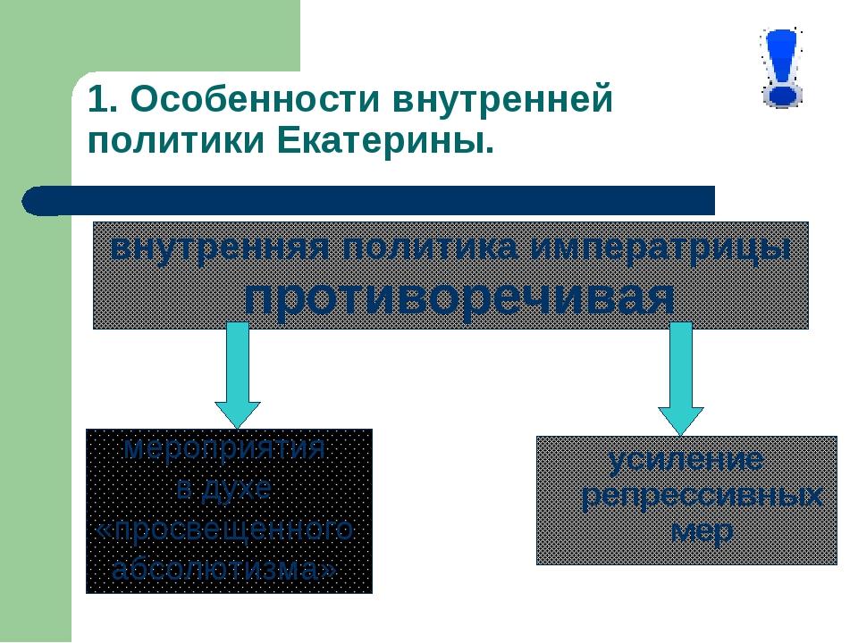 1. Особенности внутренней политики Екатерины. усиление репрессивных мер внутр...