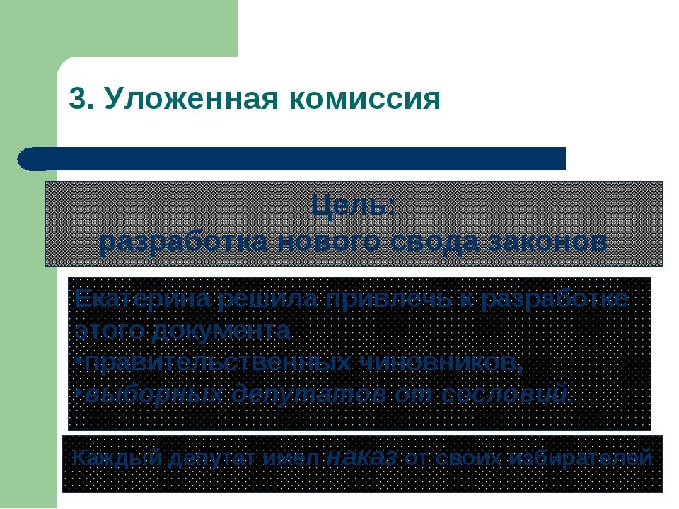 3. Уложенная комиссия Цель: разработка нового свода законов Екатерина решила...