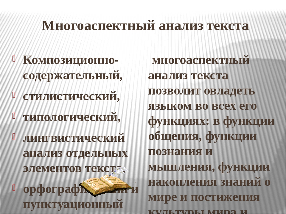 Многоаспектный анализ текста Композиционно-содержательный, стилистический, ти...