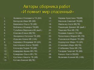 Авторы сборника работ «И помнит мир спасенный» 1.Акименко Елизавета 7А (8А)
