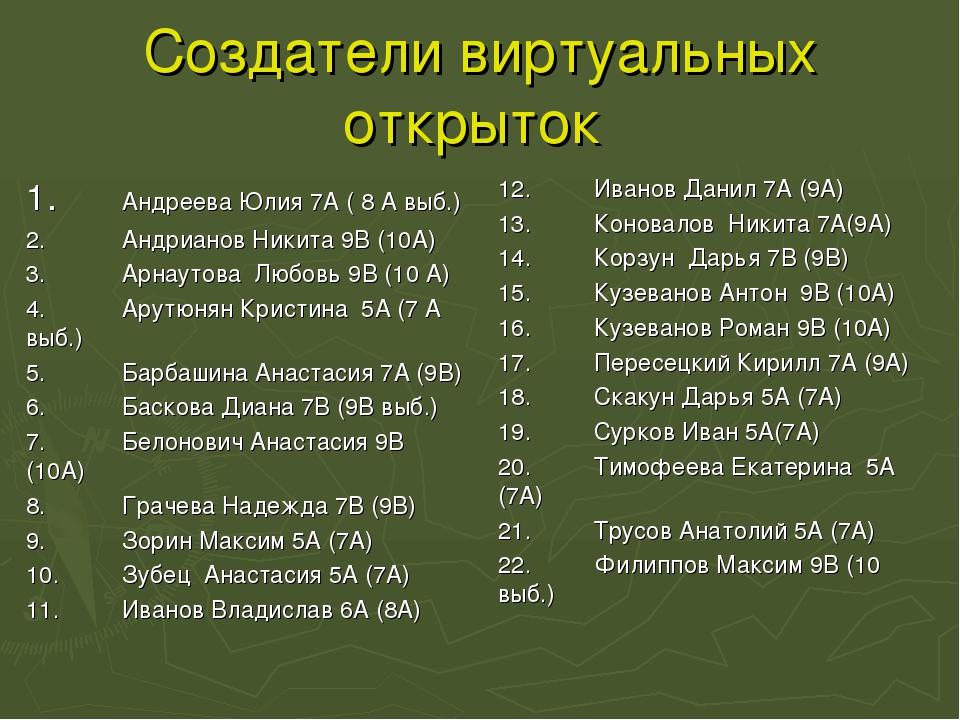 Создатели виртуальных открыток 1.Андреева Юлия 7А ( 8 А выб.) 2.Андрианов Н...