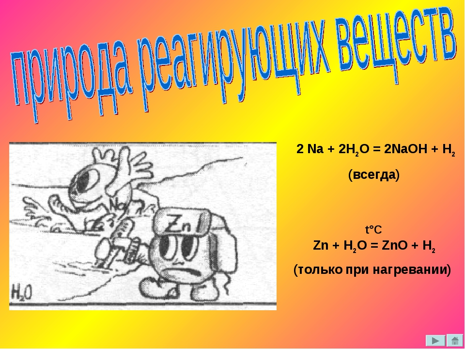 2 Na + 2H2O = 2NaOH + H2 (всегда) Zn + H2O = ZnO + H2 (только при нагревании...