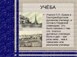 УЧЁБА Учился П.П. Бажов в Екатеринбургском духовном училище, а потом в Пермск