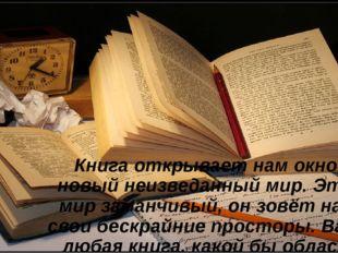 Книга открывает нам окно в новый неизведанный мир. Этот мир заманчивый, он з
