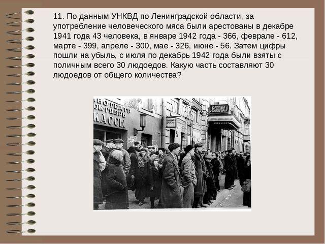 11. По данным УНКВД по Ленинградской области, за употребление человеческого м...