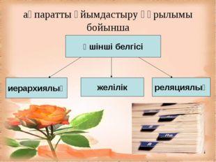 ақпаратты ұйымдастыру құрылымы бойынша Үшінші белгісі иерархиялық желілік рел