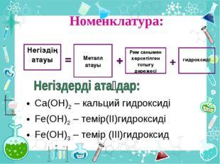 Номенклатура: Ca(OH)2 – кальций гидроксиді Fe(OH)2 – темір(ІІ)гидроксиді Fe(O