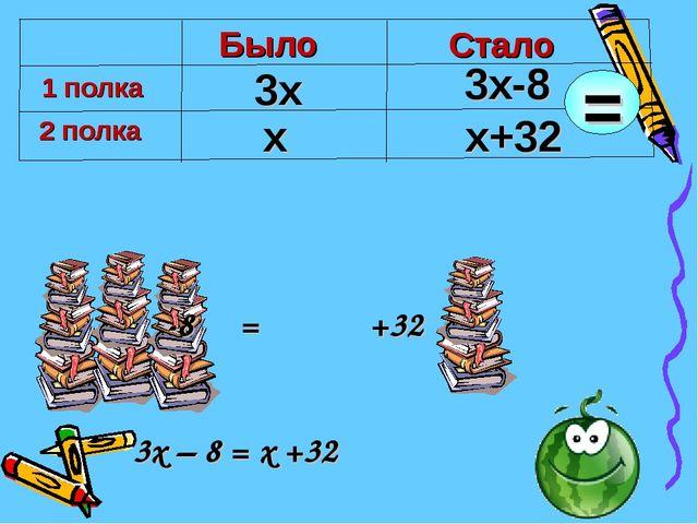-8     =            +32           3x – 8 = x +32