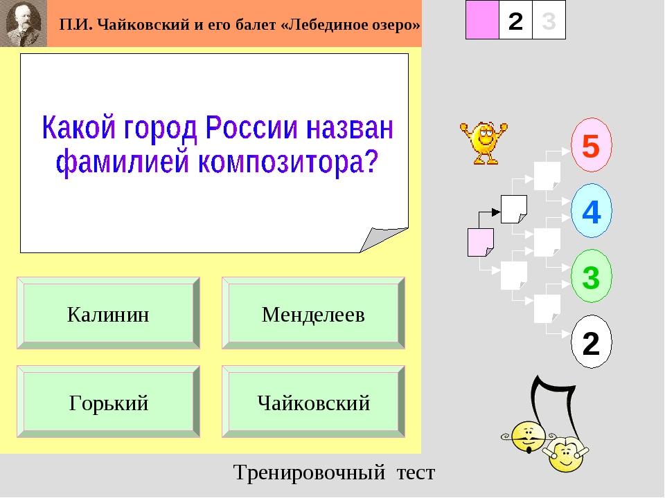 1 Горький Чайковский 5 2 3 4 2 3 Менделеев Калинин Тренировочный тест