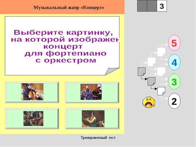 Тренировочный тест 1 5 2 3 4 2 3 Музыкальный жанр «Концерт» Тренировочный тест