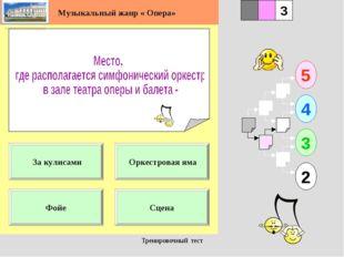 Тренировочный тест 1 Фойе Сцена 5 2 3 4 2 3 Оркестровая яма За кулисами Музык