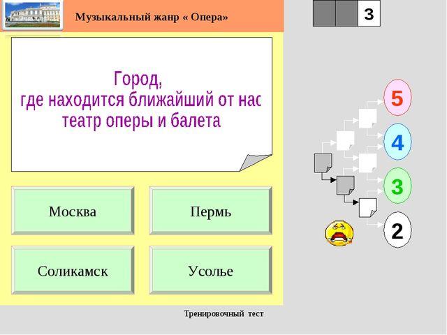 Тренировочный тест 1 Соликамск Усолье 5 2 3 4 2 3 Пермь Москва Музыкальный жа...