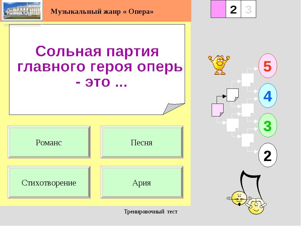 Тренировочный тест 1 Стихотворение Ария 5 2 3 4 2 3 Песня Романс Музыкальный...