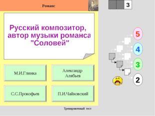 Тренировочный тест 1 С.С.Прокофьев П.И.Чайковский 5 2 3 4 2 3 Александр Алябь