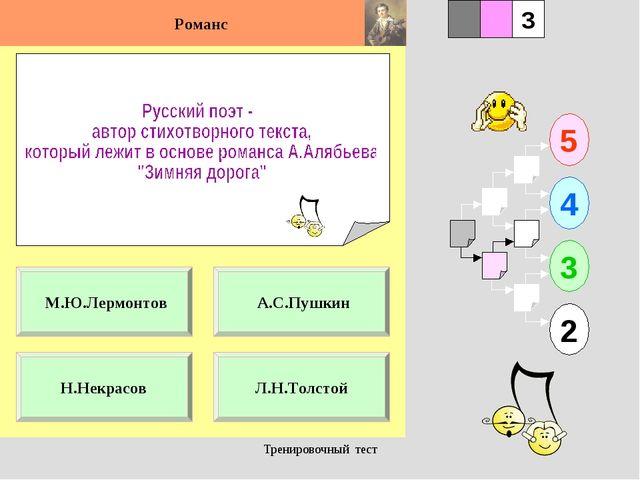 Тренировочный тест 1 Н.Некрасов Л.Н.Толстой 5 2 3 4 2 3 А.С.Пушкин М.Ю.Лермон...