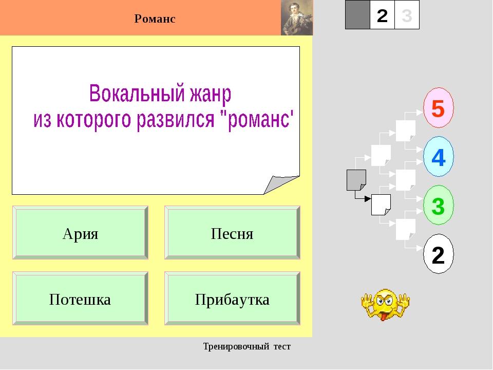 Тренировочный тест 1 Потешка Прибаутка 5 2 3 4 2 3 Песня Ария Тренировочный т...