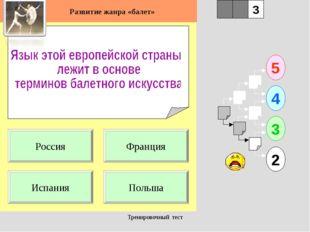 Тренировочный тест 1 Испания Польша 5 2 3 4 2 3 Франция Россия Развитие жанра