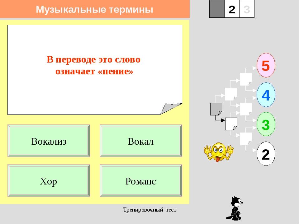 Тренировочный тест В переводе это слово означает «пение» 1 Хор Романс 5 2 3 4...