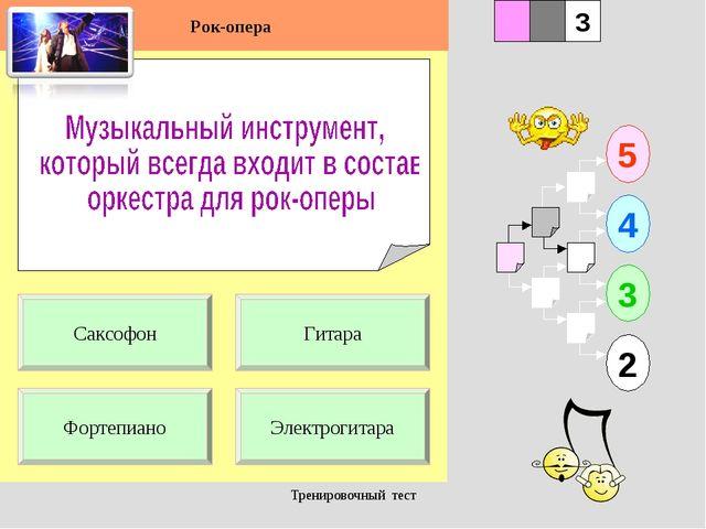 Тренировочный тест 1 Фортепиано Электрогитара 5 2 3 4 2 3 Гитара Саксофон Рок...
