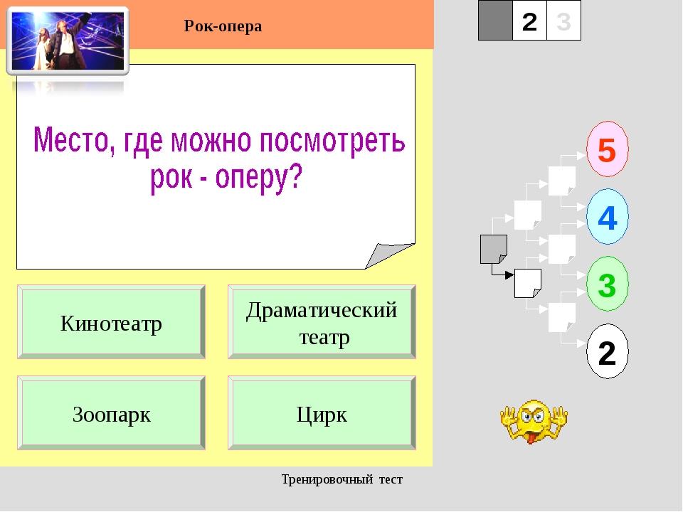 Тренировочный тест 1 Зоопарк Цирк 5 2 3 4 2 3 Драматический театр Кинотеатр Р...