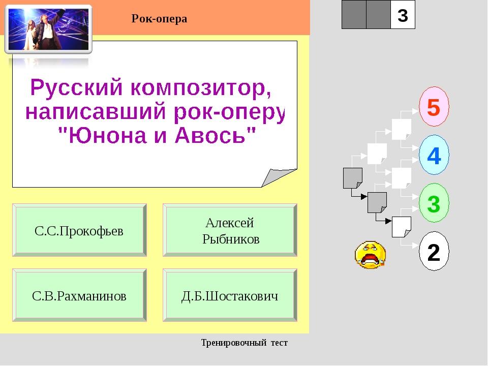 Тренировочный тест 1 С.В.Рахманинов Д.Б.Шостакович 5 2 3 4 2 3 Алексей Рыбник...