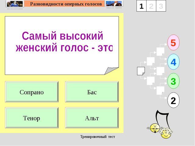Тренировочный тест 1 Тенор Альт 5 2 3 4 2 3 Бас Сопрано Тренировочный тест
