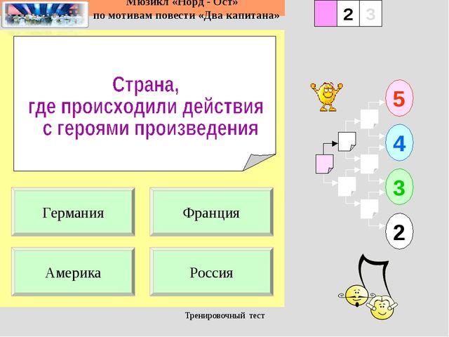 Тренировочный тест 1 Америка Россия 5 2 3 4 2 3 Франция Германия Тренировочны...