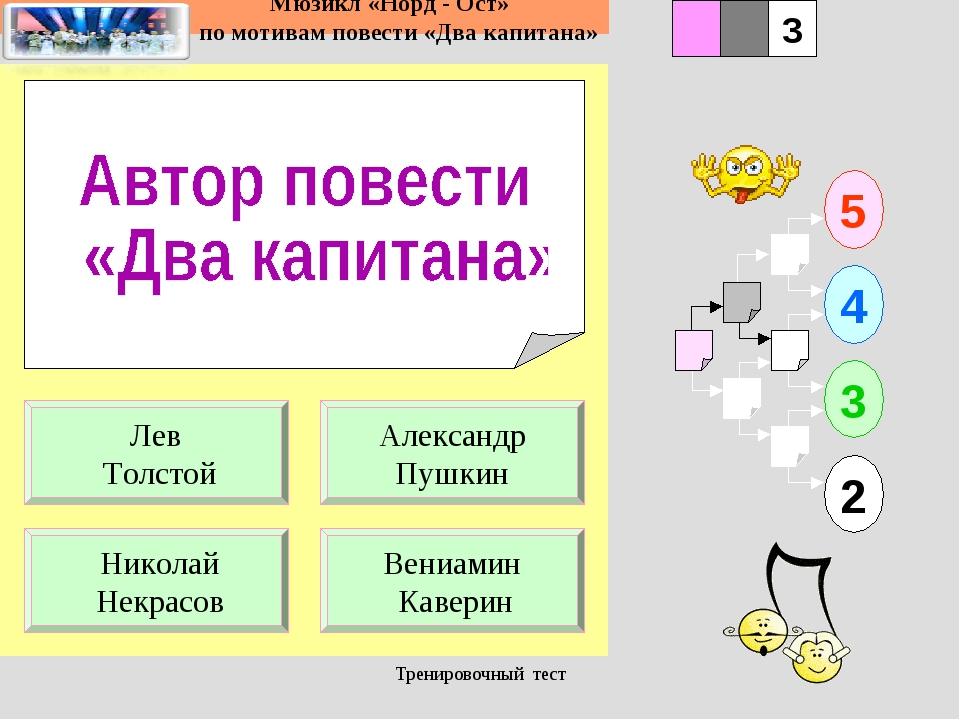 Тренировочный тест 1 Николай Некрасов Вениамин Каверин 5 2 3 4 2 3 Александр...