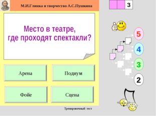 Тренировочный тест 1 Сцена 5 2 3 4 2 3 Подиум Арена Фойе Тренировочный тест