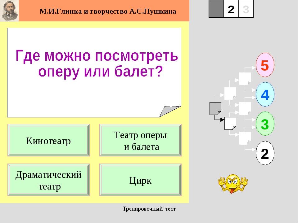 Тренировочный тест 1 Драматический театр Цирк 5 2 3 4 2 3 Театр оперы и балет...
