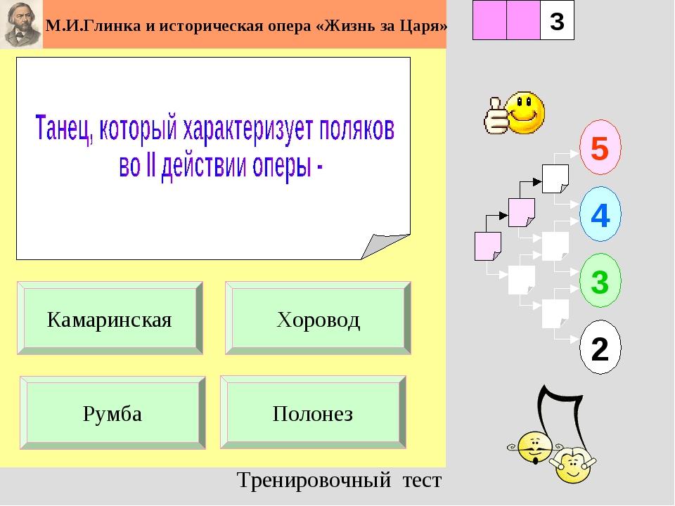1 Полонез 5 2 3 4 2 3 Хоровод Камаринская Румба Тренировочный тест