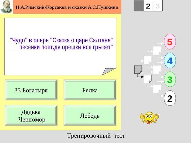 1 Дядька Черномор Лебедь 5 2 3 4 2 3 Белка 33 Богатыря Н.А.Римский-Корсаков и...