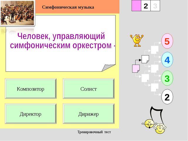 Тренировочный тест 1 Директор Дирижер 5 2 3 4 2 3 Солист Композитор Симфониче...