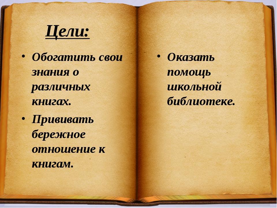 Цели: Обогатить свои знания о различных книгах. Прививать бережное отношение...