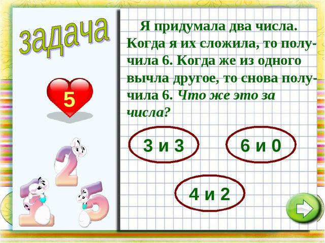 5 Я придумала два числа. Когда я их сложила, то полу-чила 6. Когда же из одно...