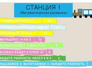 СТАНЦИЯ 1 «Математическая разминка» СУММА ЧИСЕЛ 8 И 2 НА СКОЛЬКО 13 БОЛЬШЕ,