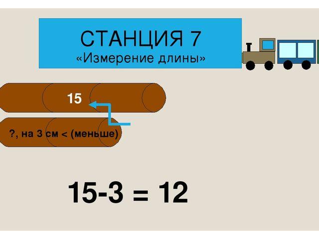 15-3 = 12 СТАНЦИЯ 7 «Измерение длины» 15 ?, на 3 см < (меньше)